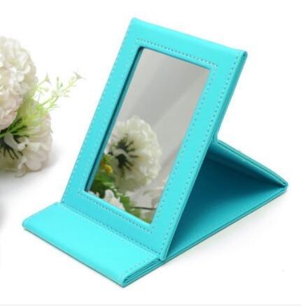 Bluelover 4 Kleuren Opvouwbare Mini Spiegel Pu Lederen Reizen Compacte Pocket Make-up Spiegels