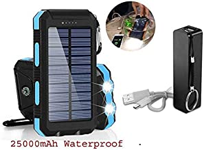 BUNDLE Pack 25,000mAh Solar Charger & 2600mAh External Power Bank, Portable Dual USB Solar Battery Charger External Battery Pack Phone Charger Power Bank Flashlight for Smartphone Tablet Camera (Blue)