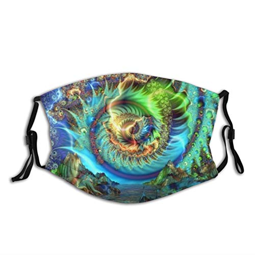 Mei-ltd Psychedelic Bay Face Ma-sk Washable Reusable Adult Face Cover with Adjustable Nose Wire and Ear Loops