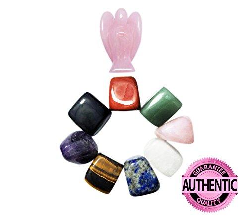 Forma Natural cristal curación chakra piedras y tamaño de bolsillo cuarzo rosa ángel Value Pack