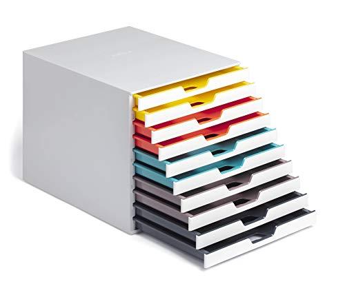 Durable 763027 A4 Schubladenbox (Varicolor Mix 10 Fächer, mit Etiketten zur Beschriftung) mehrfarbig