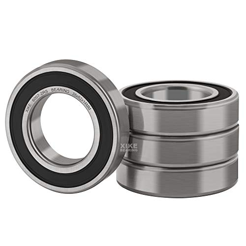 XiKe 4 Pcs 6007-2RS Double Rubber Seal Bearings 35x62x14mm, Pre-Lubricated and Stable Performance and Cost Effective, Deep Groove Ball Bearings.