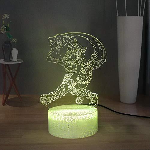 3D Illusion Lampe Halloween Symbol Cartoon Hexentischlampe Niedlichen Besen Hexe Led Nachtlicht Usb Touch Schlafzimmer Nachtlicht Nachttischlampe Geschenk