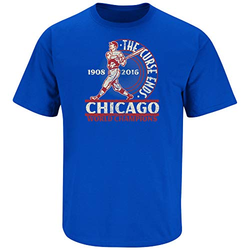 Nalie Sports Chicago Baseball-Fans. The Curse Ends Royal T-Shirt, Größe S - 5X, Herren, königsblau, XXX-Large