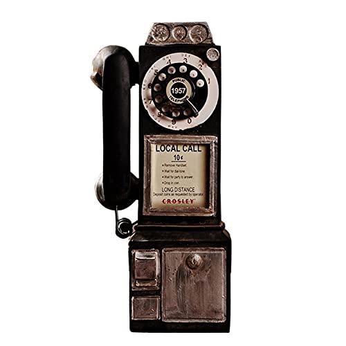 Xuebai Vintage Girar Clásico Look Dial Pay Teléfono Modelo Retro Cabina Decoración del Hogar Ornamento