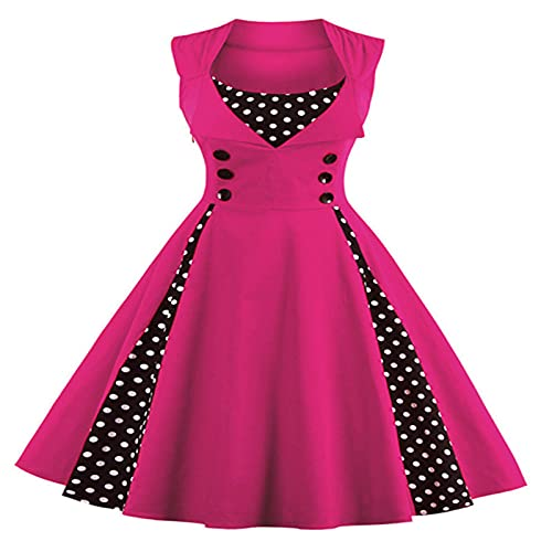 Damska Sukienka Midi Z Dekoltem W Kropki Boho Swing Sukienka Damska Z Głębokim Dekoltem W Szpic Wieczorowa Koktajlowa Sukienka Midi (czerwona róża+XXL)