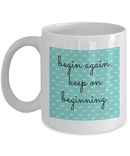 Divertida taza de té con el texto en inglés «Keep on inici», para mamás, de 312 g, color blanco