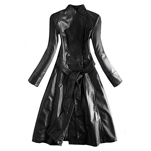 AAADRESSES Damen Trenchcoat Lang Leder Große Größen Herbst Kurzmantel Mittellange, Schlanke Lederjacke,Schwarz,XL
