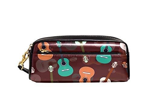 Bunte gezeichnete Gitarre auf braunem Hintergrund, PU-Leder-Bleistifttasche, Schüler-Stift-Organizer, Etui für Schüler, Kosmetiktasche, Make-up-Tasche