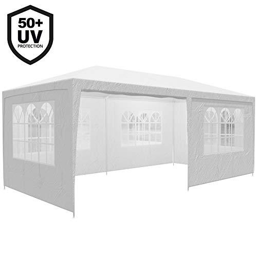 Deuba Gazebo da Giardino 3x6 m Rimini Protezione UV 50+ Idrorepellente 6 pareti Laterali 18 m² Tenda per Feste Padiglione da Giardino Tendone da Esterno Bianco