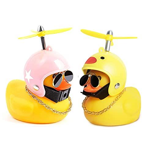 Juguetes de pato de goma, decoraciones de tablero de coche de pato, adornos de coche de pato de goma, pato fresco con hélice/casco /gafas de sol /cadena de oro (Estrellas Rosas+Pequeña Boca Roja)