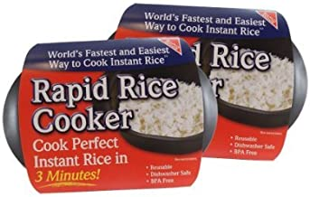Rapid Rice Cooker | Microwave Rice Blends in Less Than 3 Minutes | Perfect for Dorm, Small Kitchen, or Office | Dishwasher-Safe, Microwaveable, BPA-Free (Black) (Black (2 pack))