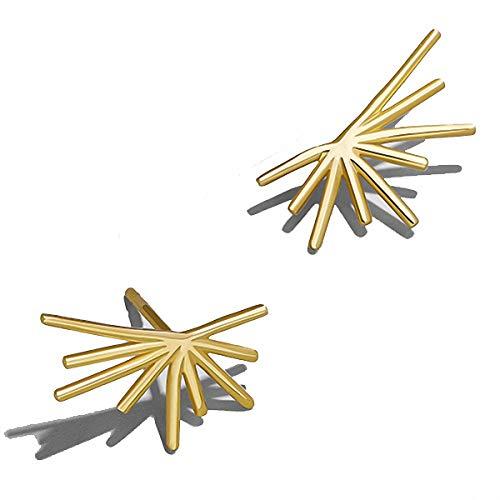 Pendientes de hoja pequeña para mujer, diseño de abanico con hojas doradas