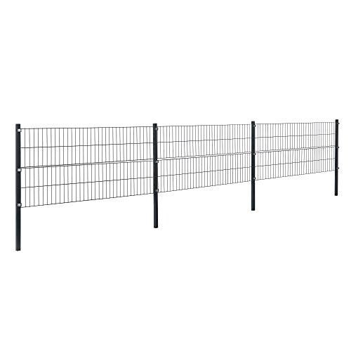 [pro.tec] Doppelstabmattenzaun - 6 x 0,8 m - Eisen Gartenzaun Metallzaun Set (grau)