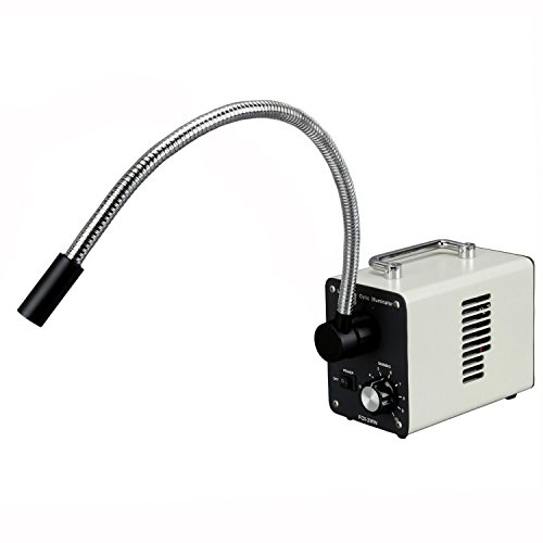 AmScope LED-20WS 20W LED Fiber Optic Single Gooseneck Light Microscope Illuminator
