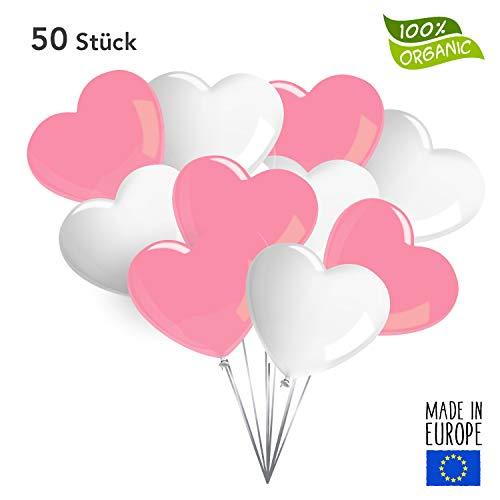 Twist4 50 Premium Herz Luftballons in Rosa/Weiß - Made in EU - 100% Naturlatex und 100% biologisch abbaubar – Liebe Hochzeit Valentinstag - für Helium geeignet