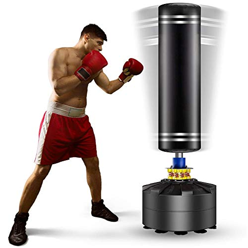 Kitopa Free Standing Punch Bag, Heavy Punching Bag Stand with Suction Cup Base for Adult Youth Men Maximum 182 lb Stand Kickboxing Bags Kick Punch Bag (Black)
