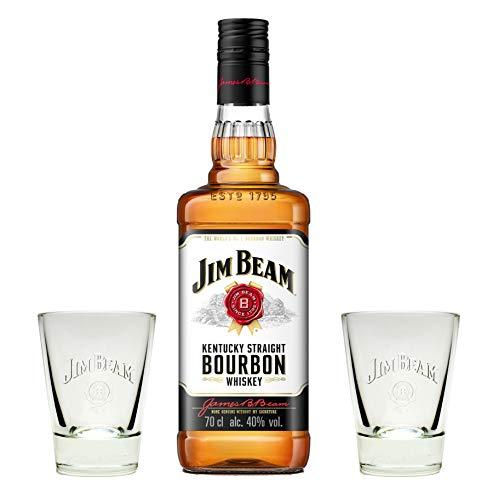 Jim Beam Bourbon Whiskey 40% 0,7l + 2 Original Gläser - Geschenkidee
