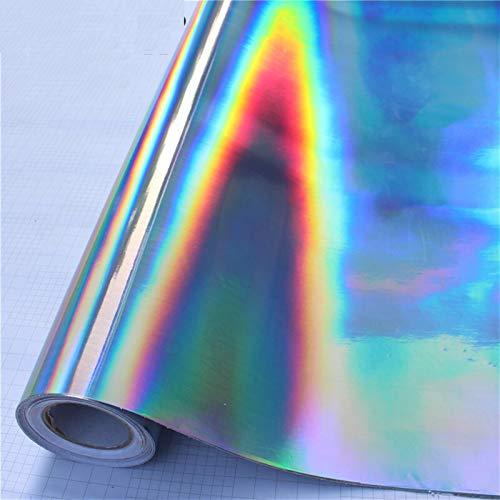 SANKUAI 1 UNID Popular Rainbow Láser Vinilo Envoltura Color Color DIY Motocicleta Teléfono Móvil Laptop Scooter Bike Skin Car PTVC Pegatina Silver (Color : Plata, tamaño : Medium)