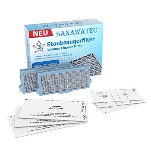 SANAWATEC 2x HEPA Filter kompatibel für Miele Staubsauger Compact C1 C2 Complete C2 C3 S8340 +3 Air Clean Plus-Filter+3 Motorfilter für S4000 S5000 S6000 S8000 Serien Staubsaugerfilter mit Aktivkohle