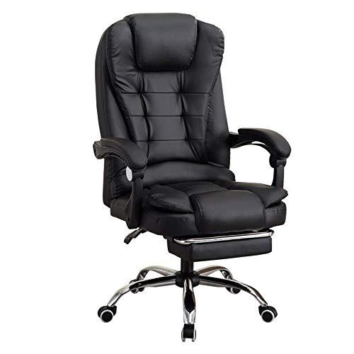 CJHOME Computerstuhl Bürostuhl | Massagestuhl Boss Stuhl | Liegestuhl | Sitzsitz Fußstütze Lederstuhl | Drehstuhl | Videospielstuhl Rückenlehne mit Kopfstütze | Schwarz