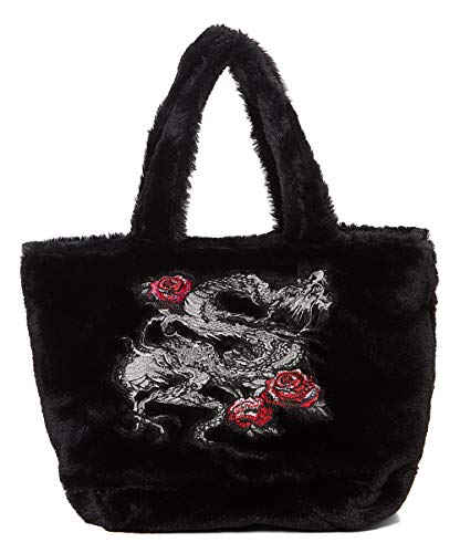 Steve Madden Bcher 90's Retro Soft Fuzzy Faux Fur Dragon Rose Embroidered Black Handbag Shoulder Bag
