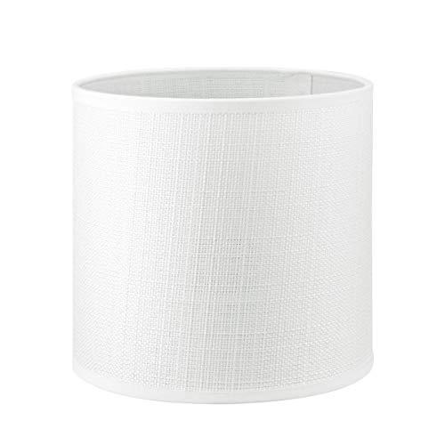 Lampenschirm rund | Canvas | Stofflampenschirm | Textilschirm | Baumwolleschirm | Für E27 Fassung | Durchmesser 16cm Höhe 15cm | Weiß | Für alle Innenraumen IP20 | Ohne Leuchtmittel