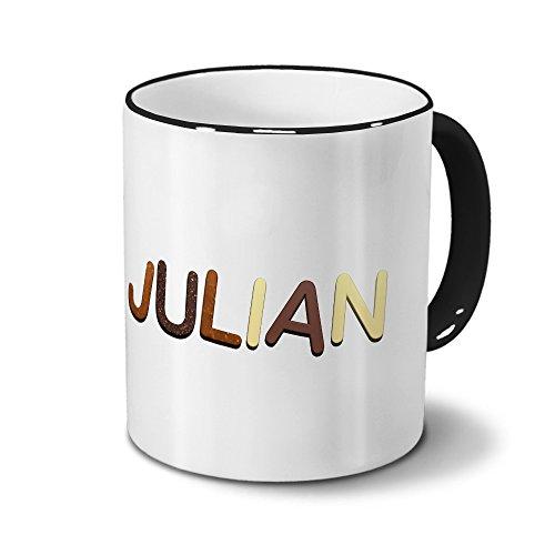 printplanet Tasse mit Namen Julian - Motiv Schokoladenbuchstaben - Namenstasse, Kaffeebecher, Mug, Becher, Kaffeetasse - Farbe Schwarz