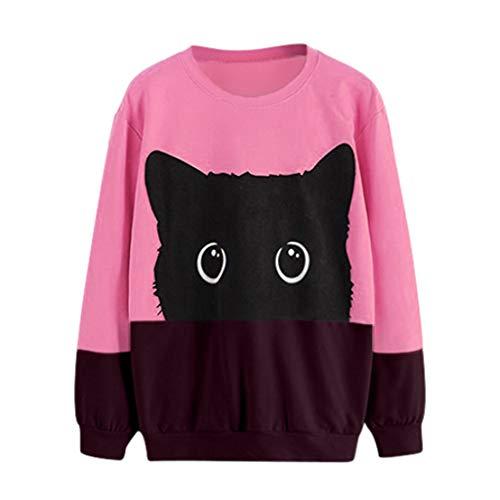Meikosks Blusa de manga larga para mujer, diseño de gato, cuello redondo, con estampado gráfico, Rosa fucsia (y-hot pink), M