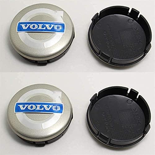 YYYYDS 4 Piezas Coche Tapas Centrales de Llantas para Volvo S40 S60 S80L XC60 XC90,Aluminio Cubierta Centro Rueda Coche,Prueba Polvo Rueda Tapas De Centro Logo,Coche Accesorios,60mm