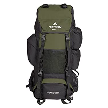 Teton Sports Explorer 4000 Internal Frame Backpack – Not Your Basic Backpack; High-Performance Backpack for Backpacking, Hiking, Camping; Sewn-in Rain Cover; Hunter Green