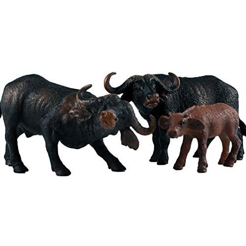 NUOBESTY Afrikanische büffel Figur realistische Tier Modell skulptur Kuh Familie Ornamente Kinder Spielen Spielzeug für Kinder Kinder Kleinkinder 3 stücke (Jede größe für 1)