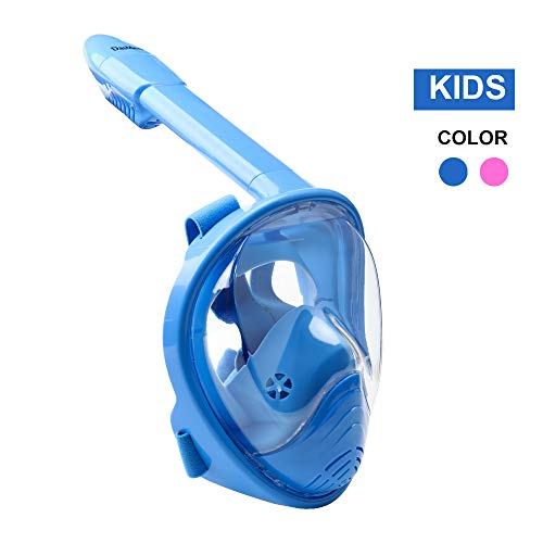 DasMeer Kids Snorkeling Mask Full Face Easy Breathing 180 Panoramic View Anti Fog Anti Leak Safety Snorkel with Detachable Action Camera Mount