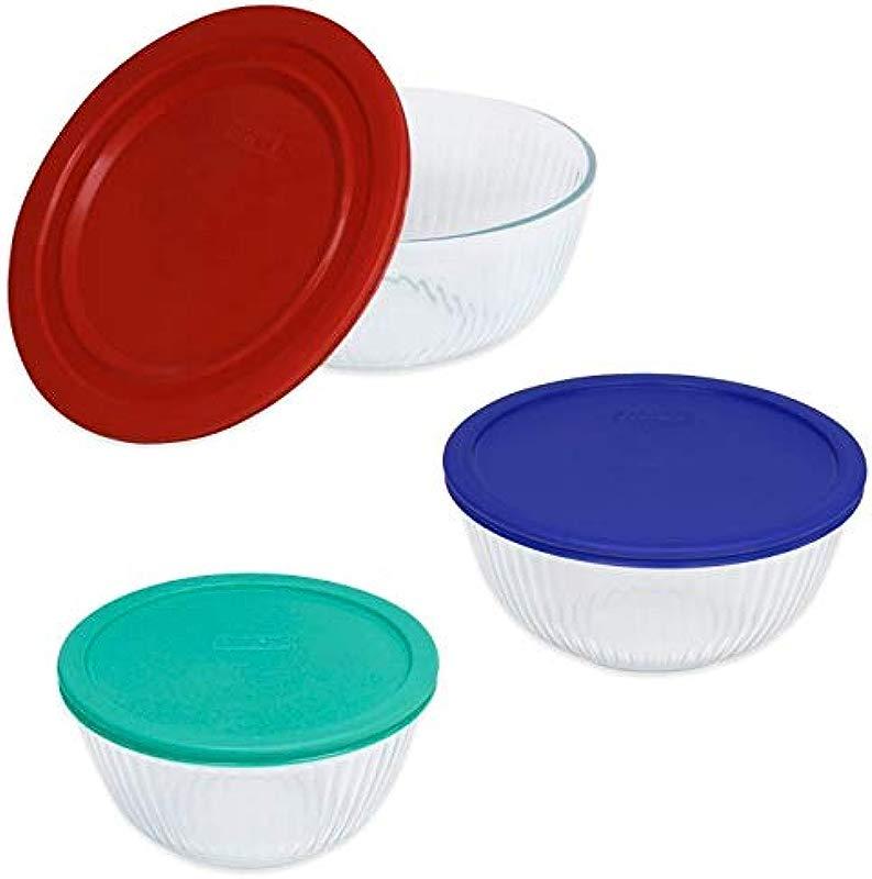 Pyrex 3 Piece Glass Mixing Bowls With Lids Set
