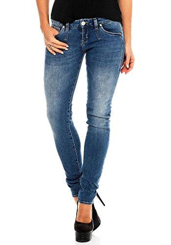 Herrlicher Damen Pansy Slim Jeans (schmales Bein), Blau (Faded Blue 666), W30/L32 (Herstellergröße: 30)