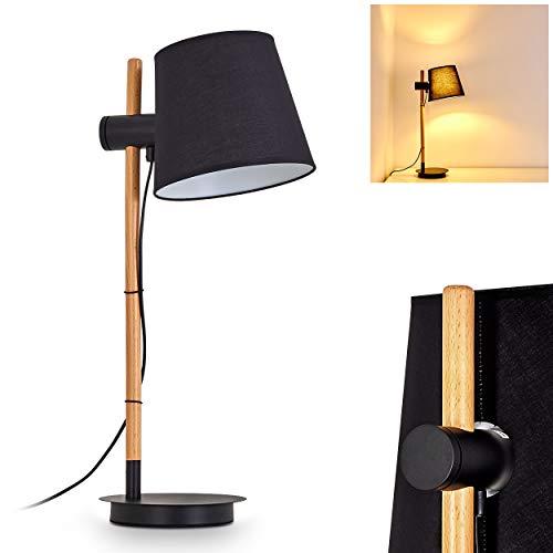 Tafellamp Fusio van metaal en textiel in zwart en wit, retro tafellamp met houten en in hoogte verstelbare lampenkap, E27 stopcontact max. 60 Watt, lamp voor kantoor en bureau, voor LED-verlichting