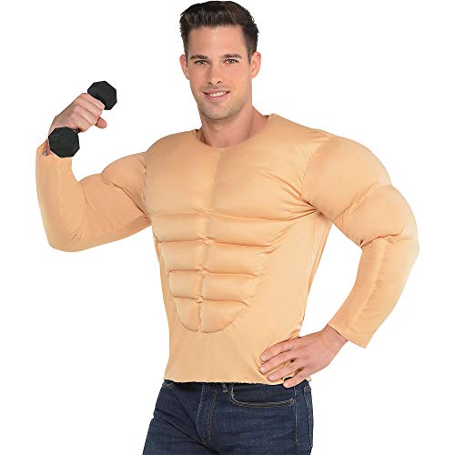 Amscan Muscle Shirt Costume Outfits, Skin Tone, Standard