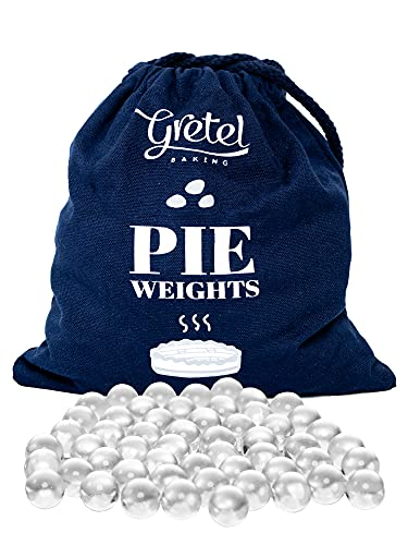 Gretel Baking Glass Pie Weights | Dust Free | Heat Safe | Borosilicate Glass | Baking Beans with Drawstring Bag for Blind Baking Pie Crusts | 2.5 Pounds