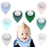 Baby Dreieckstuch Lätzchen, mixigoo 8er Unisex Baumwolle Weich Halstuch Spucktuch Halstücher mit Verstellbares Druckknopf Einfarbig Lätzchen für Jungen und Mädchen