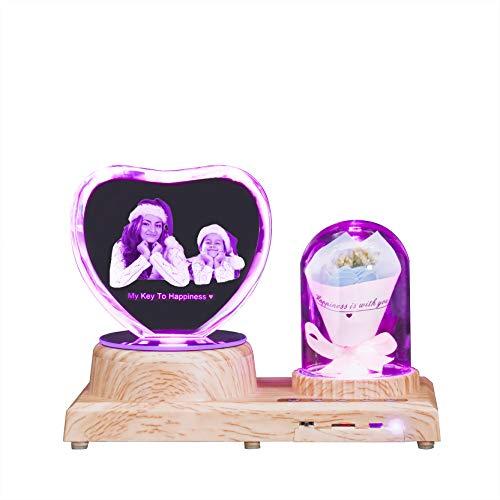 Kundenspezifisches Fotolicht Lasergeätztes 3D-Kristalllicht Personalisiertes Bluetooth-Musiklicht Herzförmiges & Rosennachtlicht(Heart2 Blue Rose)