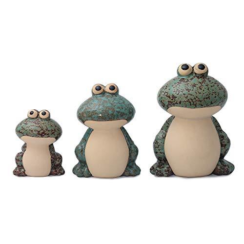 Flanacom Dekofiguren Set aus Keramik - Tierfiguren für Innen und Außen - Deko-Artikel für Wohnung & Garten - Tier Gartendeko Wohnzimmerdeko (Frosch 3er Set Grün)