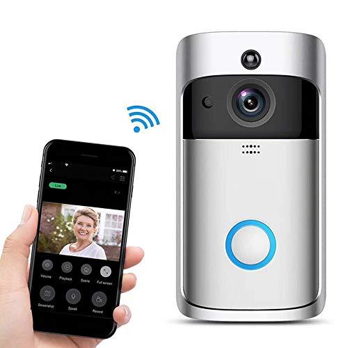 Ring Video Deurbel 2020 WiFi M4 Draadloze Deurbel Camera 1280 * 720 Met 6 stks Nachtlampje LED Ondersteuning PIR.1080 HD Video, Twee-weg Talk, Bewegingsdetectie, Memory Card Optie. Zilver & Zwart.