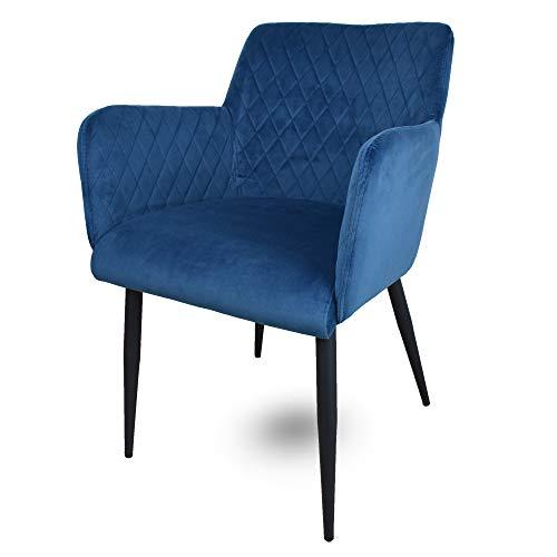 Damiware Rose Stuhl | Design Wohnzimmerstuhl Esszimmerstuhle Bürostuhl mit Samt Stoffbezug | Samt Blau