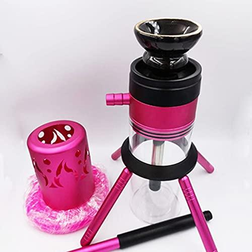 Hookah Set con Todo Tazas de Shisha con Luces LED Kit de Fumadores Hookah Shisha Set de tuberías Accesorios Combo Kit, Desmontable Lavable Ligeriz, Bares Party Pink