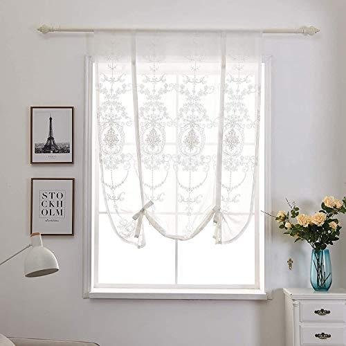 Qucover Raffrollo Weiß Transparente Scheibengardine Küche Landhaus Stil Bistrogardine mit Stickerei Vintage Kurze Fenster Gardine Breite 100cm Höhe 120cm mit Band