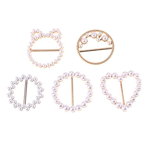 5Pcs Fashion Scarf Clasp Ring Pearl Tee Shirt Clips Buckle for Neckerchief Clothing