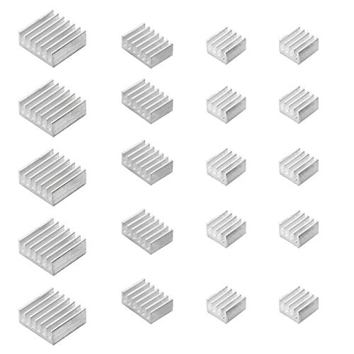Smalloo 20-teiliges Aluminium-Kühlkörper-Set mit Wärmeleitklebeband für Raspberry Pi/CPU/GPU VGA/RAM/VRAM/VRM/IC/Chips LED/MOSFET Transistor.