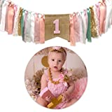 Pink Princess Style Tutu 1st Birthday High Chair Banner First Birthday Party Supplies (Random Pattern Happy Birthday Cake Topper)