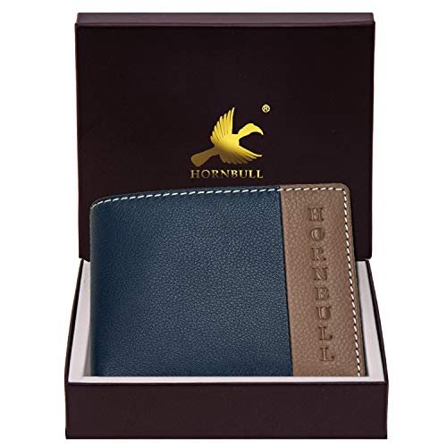 Hornbull Men's Navy/Mud Taylor Genuine Leather RFID Blocking Wallet