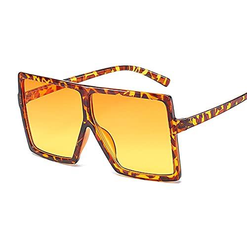 NJJX Gafas De Sol De Gran Tamaño Para Mujer, Gafas De Sol Cuadradas De Moda Negra Con Montura Grande, Gafas De Sol Retro Vintage Para Mujer, Unisex, Leopardo, Naranja